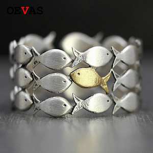 Cute fish group Open ring Silver Gold color party jewelry fashion birthday present Cute girls Finger rings Anniversary gift Anel(China)