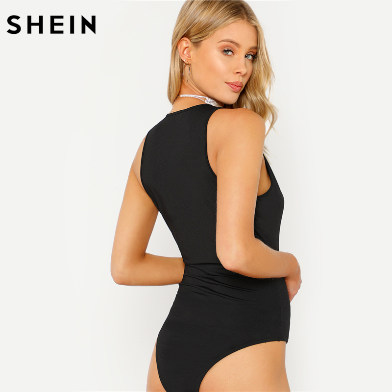 SHEIN Body Suits for Women Plunge Neck Solid Bodysuit 2018 Women Summer Black Deep V Neck Sleeveless Skinny Bodysuit 2