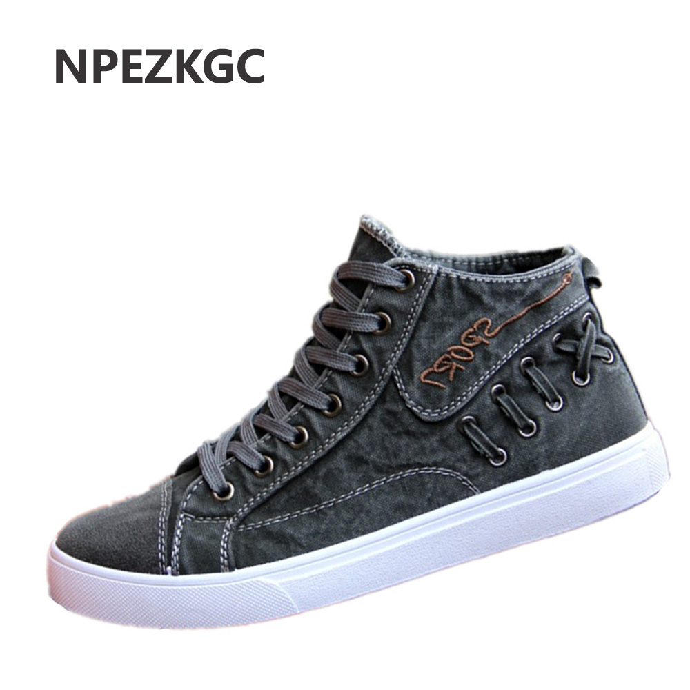 NPEZKGC Men Shoes Fashion Spring/Summer Breathable Men Casual Shoes Korean High-top Lace-up Men Canvas Shose Men Flats Shoes