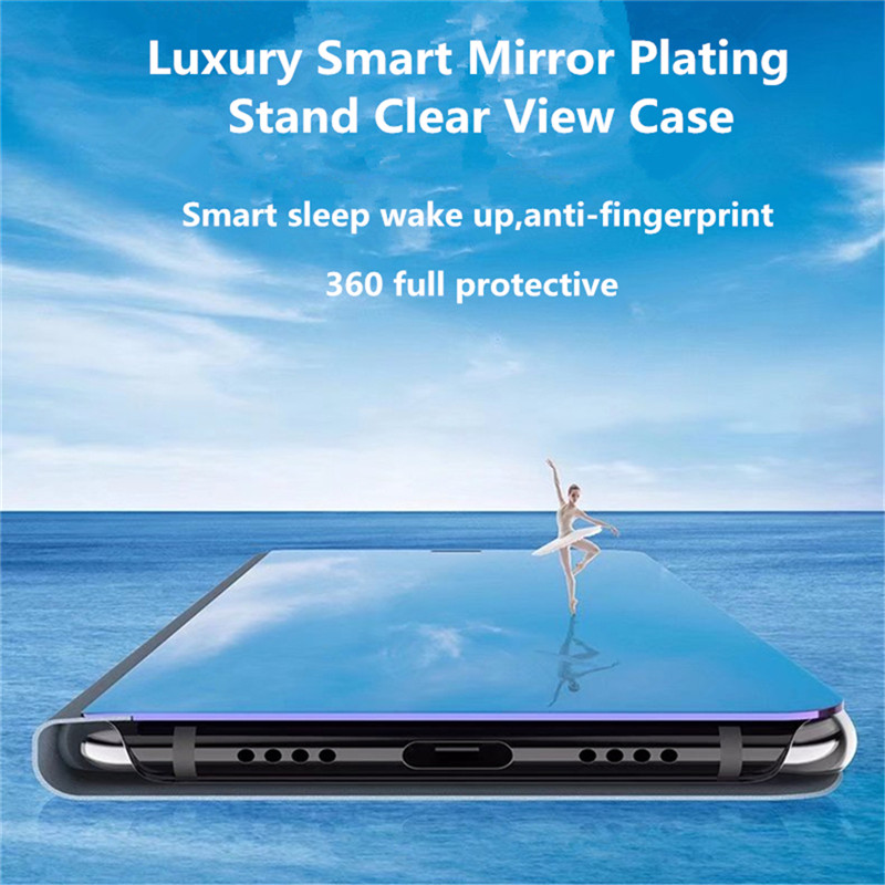 For Oneplus Nord Case Luxury Mirror Stand Leather Clear Smart View Flip 360 Full Cover Case for One Plus Nord Shockproof Fundas 4