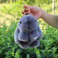 Gerçek Kürk Tavşan Anahtarlık Moda Anahtar Halkası Hakiki Rex Tavşan Kürkler Bunny Anahtarlık kolye Çanta Araba Charm Etiketi Sevimli Tavşan Oyuncak Bebek