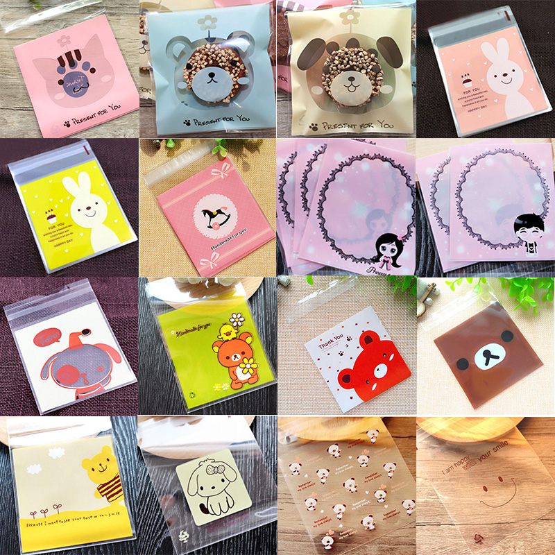 50/100PCS Cut Cartoon Bag Plastic Bag Wedding Birthday Cookie Candy Gift Packaging Bags OPP Self Adhesive Kids Party Favor