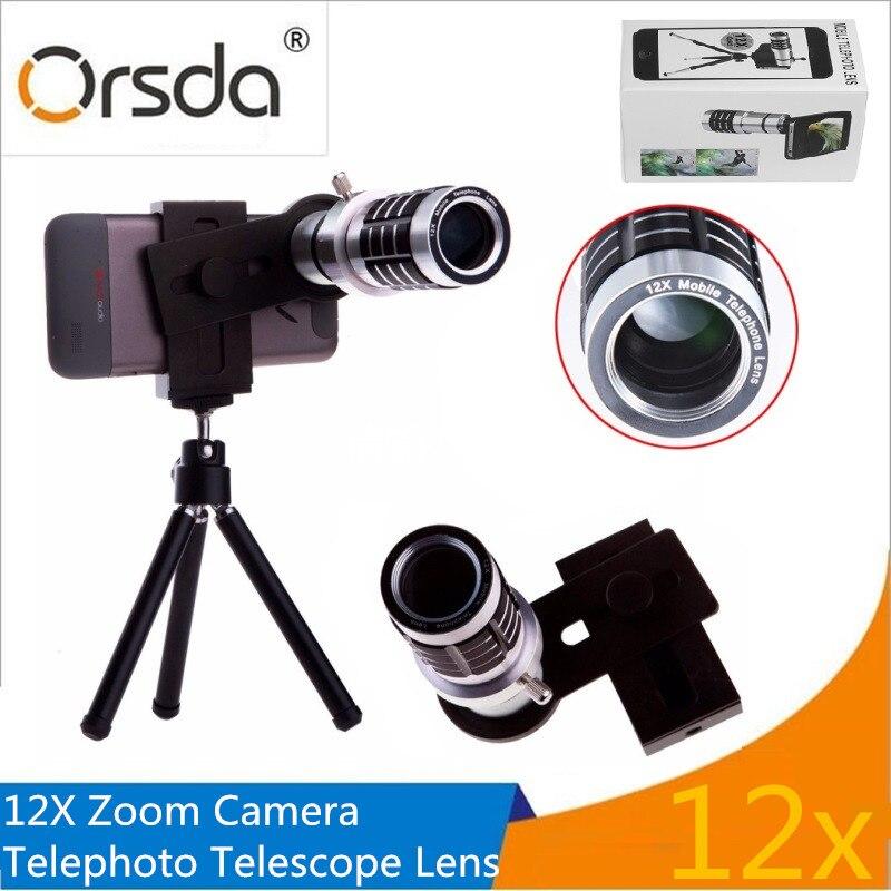 Orsda Алюминий 12x телефото телескоп увеличить телефон Объективы для фотоаппаратов со штативом и универсальный зажим для смартфон линзы telescopica
