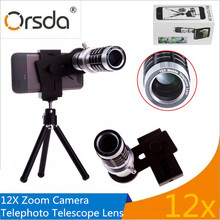 Big sale Orsda Aluminum 12X Telephoto Telescope Zoom Phone Camera Lens With Tripod And Universal Clip For Smart Phone lente telescopica