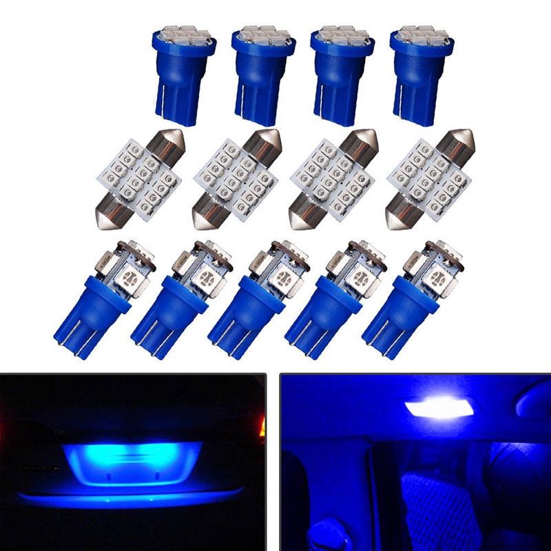 13 шт. синий светодио дный T10 31 мм гирлянда лампочек Packge Комплект для интерьера карта Потолочные плафоны DXY88