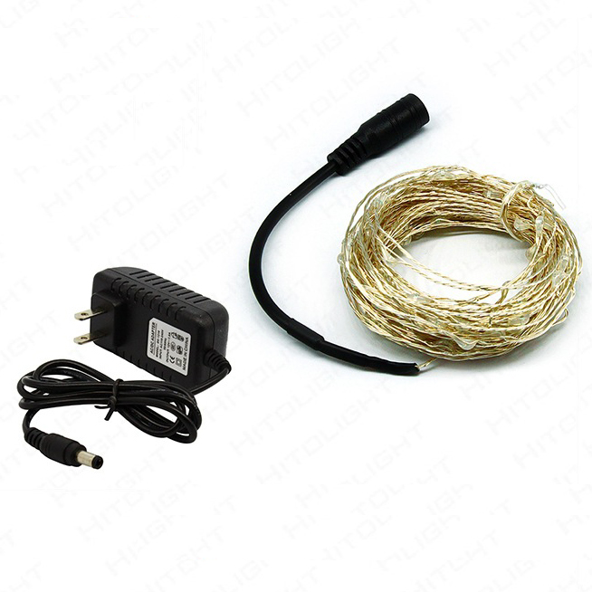 1sets 5M 10M Copper Wire LED String Lights Holiday Lighting Fairy Garland + LED Power Supply