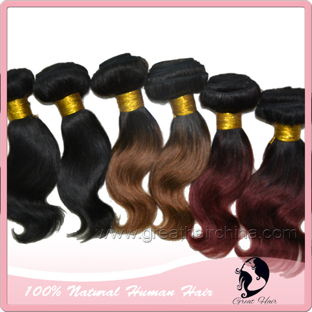 "Hair Products 8"" Remi Ombre Hair Extension, 100 Grams/ Piece Wavy Real Natural Machine Weaving Hair, Free Shipping Clips"