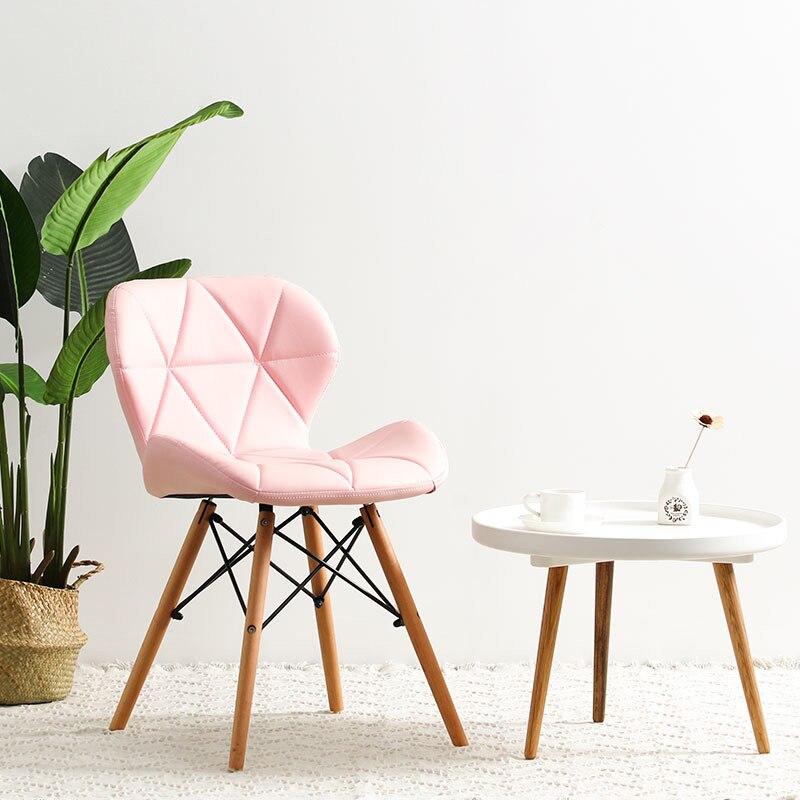 Современный минималистичный стол компьютерный стул домашний Ресторан обеденный стул из твердой древесины скандинавский диван спинка макияж пляж - Цвет: C