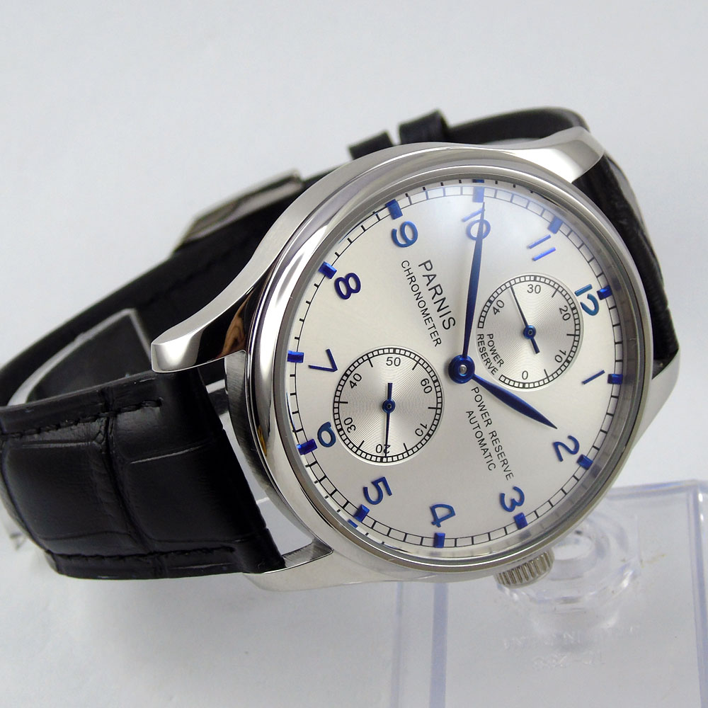 Top Brands Luxury 43mm Parnis silver white dial Blue mark Power Reserve Chronograph seagull Automatic Movement Men's Wrist watch casual 43mm parnis automatic power reserve white dial blue numbers silver watch case business watch men