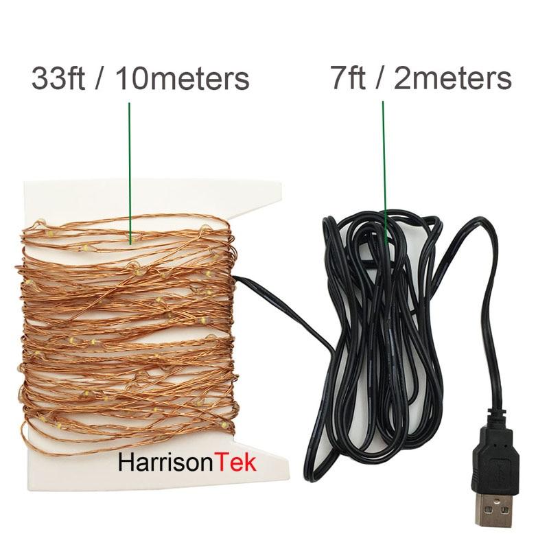 2x39ft 100LED USB 5V жылы ақ түсті, көп түсті - Мерекелік жарықтандыру - фото 4