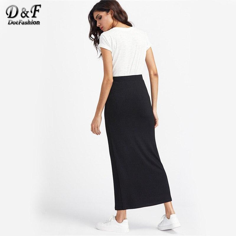 Aliexpress.com : Buy Dotfashion Basic Maxi Skirt Women Black ...