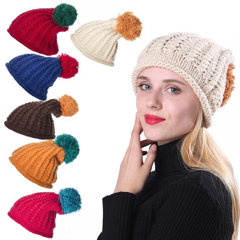 Women Winter Warm Ball Cap Pom Poms Hat Girls Thick Knitted Skullies Beanies Caps -MX8