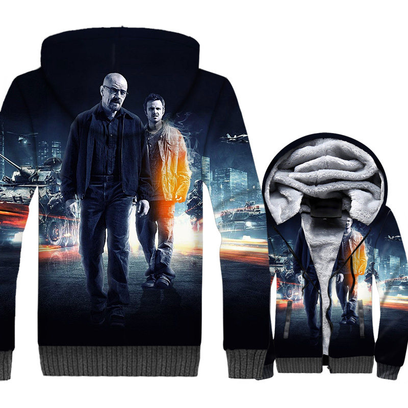 Breaking Bad Jackets Men Heisenbery Hoodie Hooded Sweatshirt Winter Thick Fleece Zip up Walter White 3D Print Coat High Quality