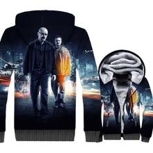 Breaking Bad Jackets Men Heisenbery Hoodie Hooded Sweatshirt Winter Thick Fleece Zip up Walter White 3D Print Coat High Quality