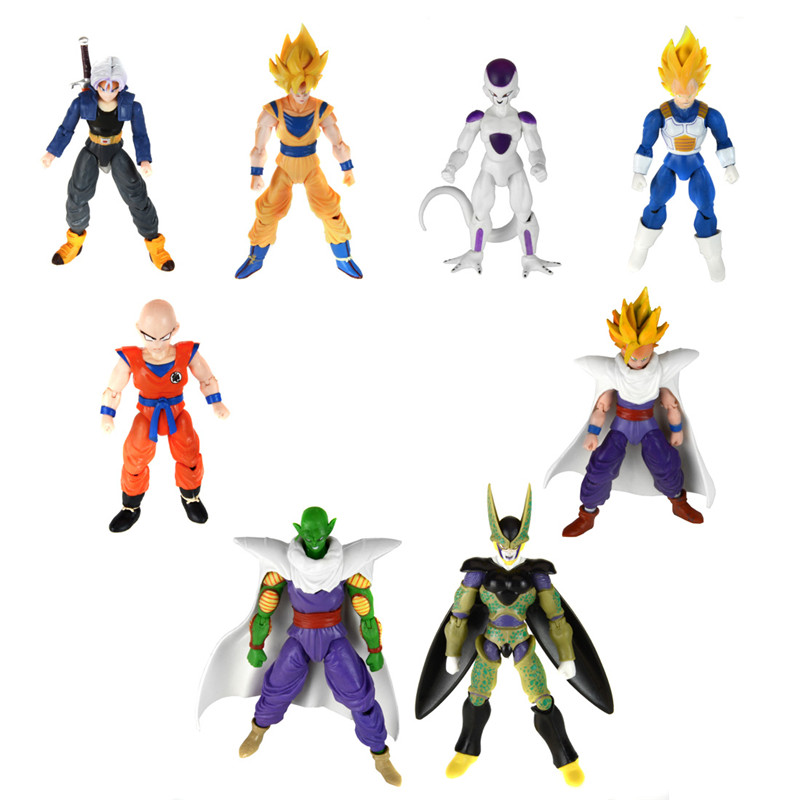 Starz 8Pcs/set Cartoon Dragon Ball PVC Action Figures Anime Child Toys Son Goku/Gohan/Vegeta/Trunks/Krillin/Piccolo/Frieza/Cell цена и фото