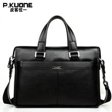 P. KUONE Echtem Leder Mann Mode Aktentasche Hohe Qualität Business Schultertasche Lässig Reise Handtasche Luxury Brand Laptop-tasche