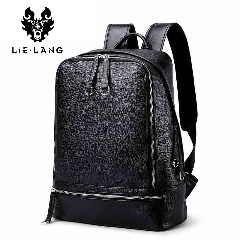 LIELANG New Hot Men Backpacks Genuine Leather Men's Travel Bag Fashion Man Backpack Casual Business Backpack for 14 Inch Laptop