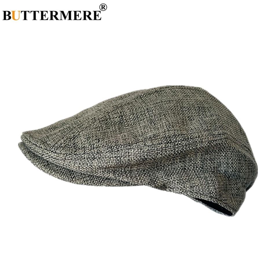 BUTTERMERE Driving-Hat Berets Gatsby Male Flat-Cap Linen Duckbill Plain Solid-Fitted