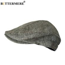 BUTTERMERE Mens Berets Grey Cotton Linen Flat Cap Male Solid Fitted Summer Retro Driving Hat Duckbill Brand Plain Gatsby Ivy