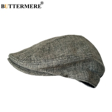 BUTTERMERE Mens Berets Grey Cotton Linen Flat Cap Male Solid