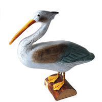 Unique Design Wooden Made Old Duck Model Decor Handwork Craft Sculpture Figurines Colored Printing Home Decoration Miniatures