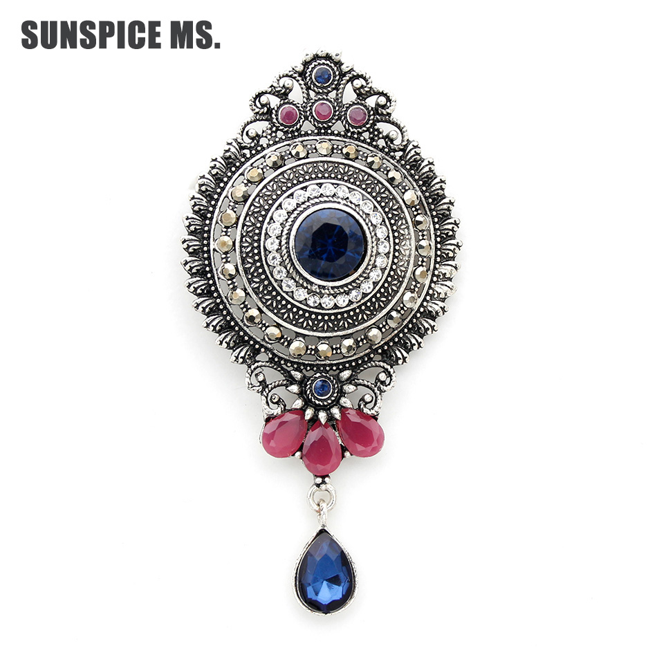 Detail Feedback Questions about Fashion Egyptian Women Round Water Drop Brooch  Pins Antique Silver Color Resin Corsage Jewelry Turkish Bridal Indian  Wedding ... b0e8f65420f0