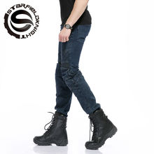 how-yes NEW Locomotive jeans With knee protector Rider pants CE Gear Motorcycle Shorts Leisure Cultivate Jeans SKP704