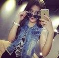Más el Tamaño S-4XL 2015 Jeans De Moda Mujer Chaleco Del Chaleco de Un Solo Pecho Agujero Chaqueta Corta Abrigo de Mezclilla Sin Mangas Tops