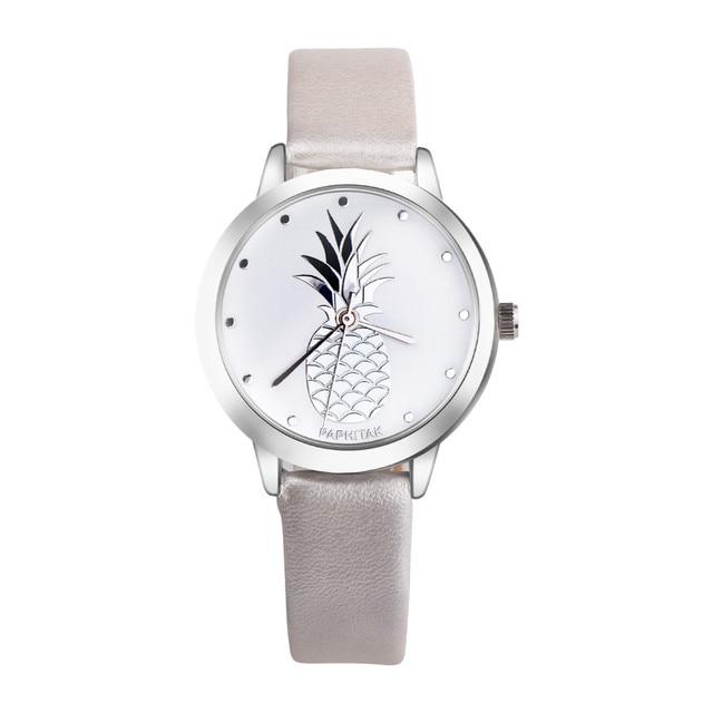 03e968956ac Senhoras Relógio Marca de luxo Vestido Relógio Feminino Abacaxi Impresso  Faux Pulseira de Couro Analógico relógio