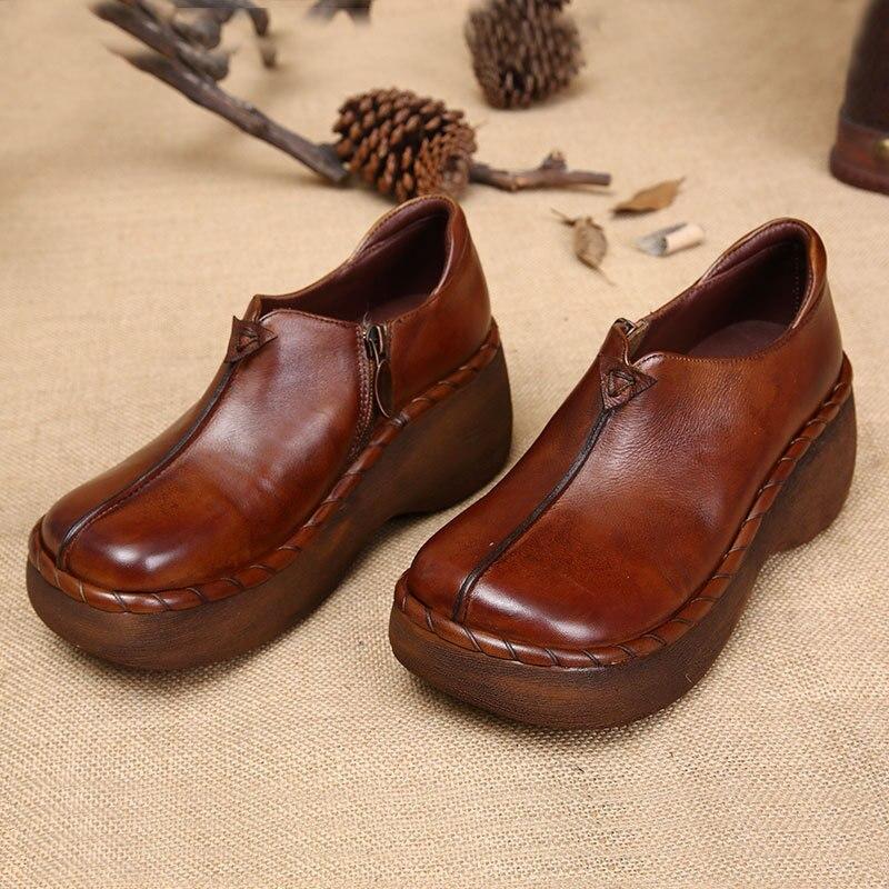 Здесь можно купить  Genuine Leather Women Winter Shoes Vintage Square Toe Women  Ankle Boots  Side Zip Solid Color Brown Wedges Platform Boots  Обувь