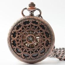 784db02edf0 Dhl frete grátis 100 pçs lote alta qualidade Red cobre relógio de bolso  mecânico preto Dial Skeleton homens relógio de bolso ata.