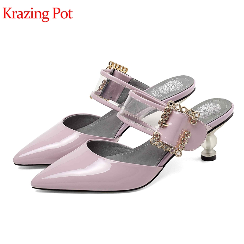 Krazing pot vintage cow leather crystal med heel slip on elegant daily wear hollowing buckle decoration sweety cute pumps L49Krazing pot vintage cow leather crystal med heel slip on elegant daily wear hollowing buckle decoration sweety cute pumps L49