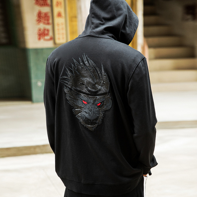 HISTREX Men Japanese Hoodies Zipper Pullover Embroidery Anime Hip Hop Hoodie  100% Cotton Sweatshirts Streetwear 3XL 4XL HT7W6I  c78cfb401