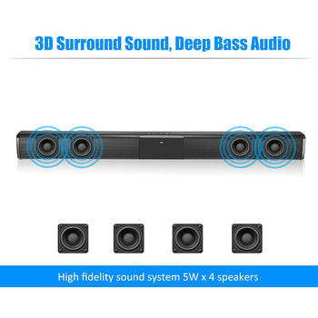 Barra de som de TV de 20W SoundBar com e sem fio Bluetooth Home Surround SoundBar para alto-falante de TV para PC Theater 1