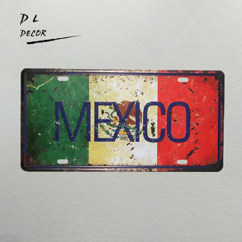 DL-MEXICO MAP License plate vintage metal sign shabby chic