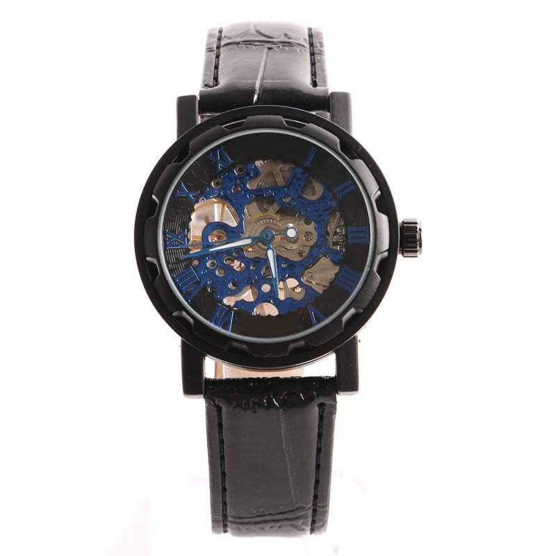 Classic Men's Gold Dial Skeleton Black Leather Mechanical Sport Army Wrist Watch hot classic men s black leather dial skeleton mechanical sport army wrist watch new relogio masculino horloges mannen 6050310