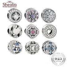 SHEALIA 925 Sterling Silver High Quality Crystal CZ Pave Decorative Charms Beads Fit Original Pandora Bracelets Diy Accessories
