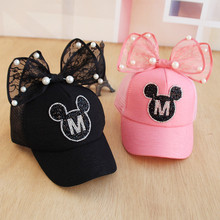 Baby Cartoon Ears Baseball Cap Baby Sun Lace Cute Hats Children Snapback Baseball Cap Summer Toddler Kids Baby Boy Girls Hats(China)