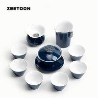 9PCS Teaware Kit Japanese Style Ji Blue Glaze Gold Line Porcelain Tea Set 1 Teapot Gaiwan