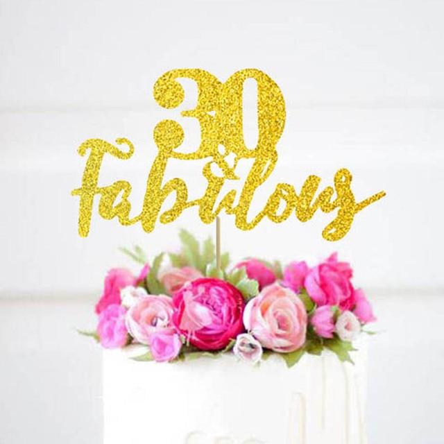 30 fabulous cake topper30th Birthday Gold Glitter TopperCustom age