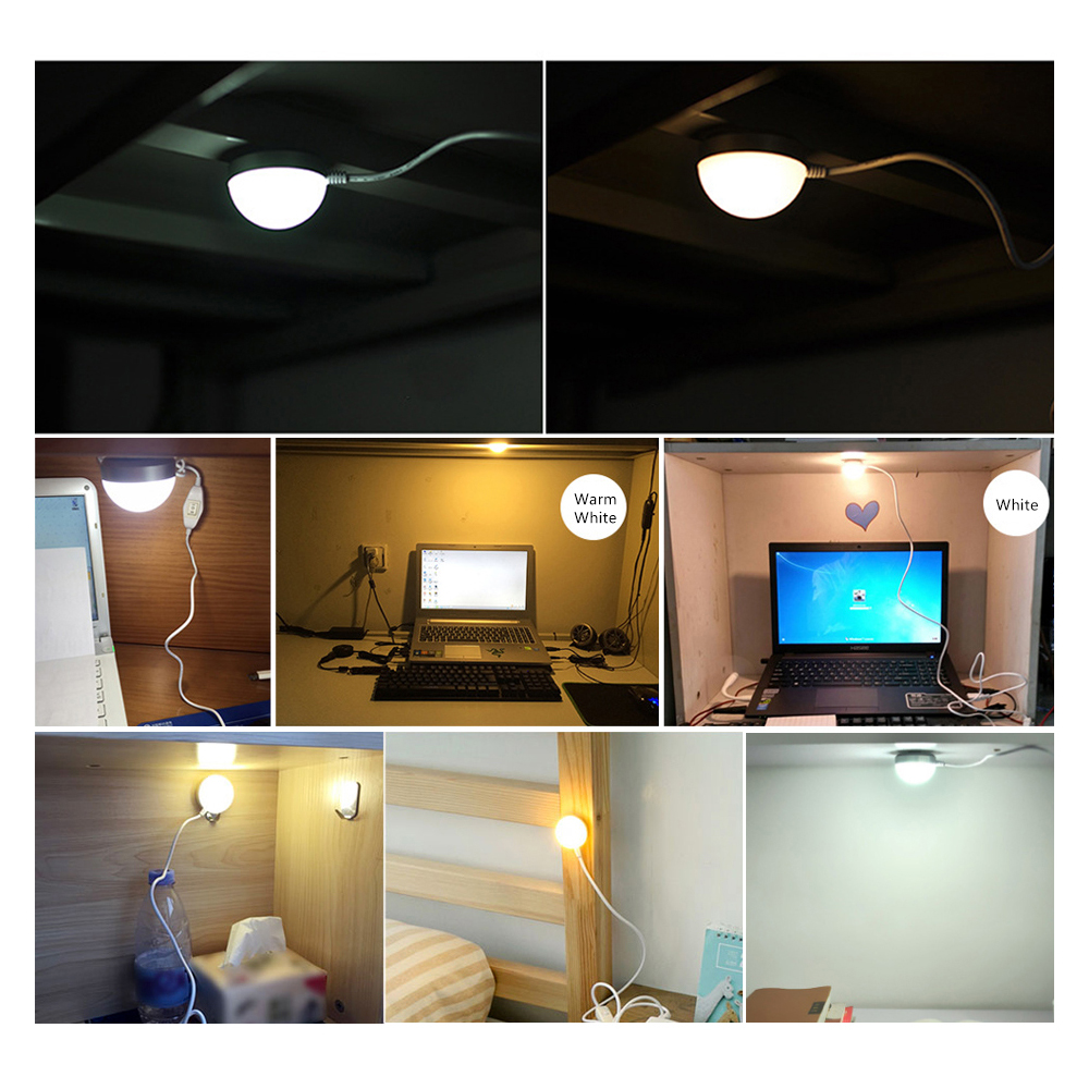 LED Night light USB Powered 3W Desk Book Reading Ceiling lamp For Camping Emergency Bulb With Switch ON / OFF