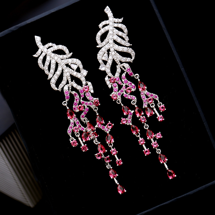 S.vex Brand Design Earring AAA Cubic Zirconia Super Long Drop Earrings Gorgeous Womens Accessaries Colorful Leaves Jewelry