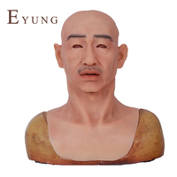 EYUNG Crease Middle Age Male Mask Realistic Halloween Silicone Male Mask For Masquerade Tricky Props Asian