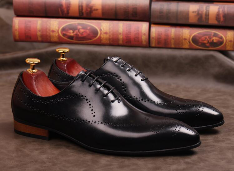 Handmade dress shoes men genuine leather pointed toes carved brogue smart casual oxfords vintage height increasing brogue shoesHandmade dress shoes men genuine leather pointed toes carved brogue smart casual oxfords vintage height increasing brogue shoes
