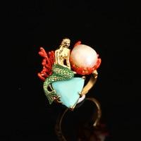 Francia Les Nereides Esmalte Abierta Anillos de Perlas Océano Sirena Anillo Accesorios de Fiesta Para Las Mujeres Joyería Al Por Mayor Romántica