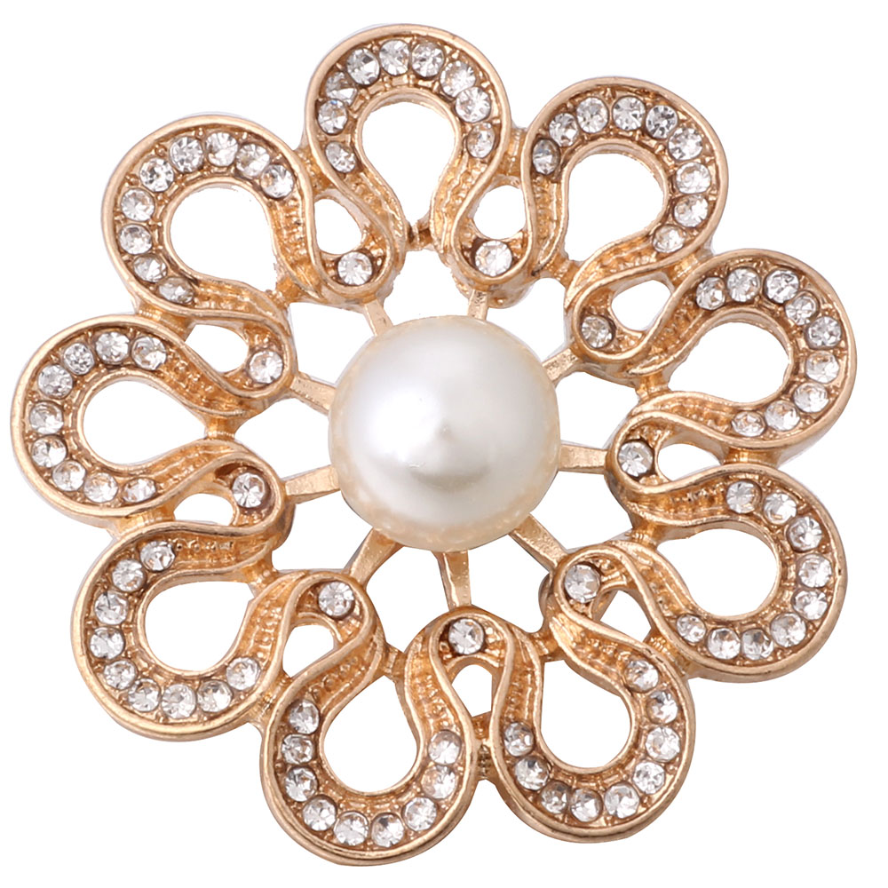 10pcs/lot New Snap Button Jewelry 18mm Charm Big Gold Flower Snap Buttons Fit Snap Bracelet for Women Snaps Buttons Jewelry