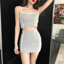 Women Sexy Two Piece Outfits Matching Sets Grey Striped Short Tops and Mini Pencil Skirt Tracksuit Style 2 Set