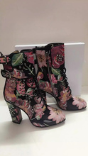 Chuassure female women Autumn ankle boots chunky heels square toe rivet&flower decoration women studded shoes mixed colors