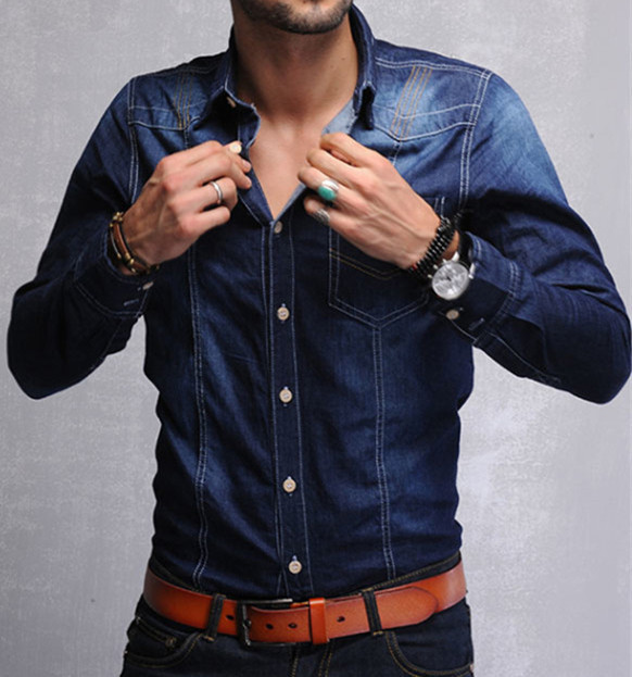 c5d4bfee61c New Cool Denim Shirt Men Slim Fit Best Material Water Washing Classic Denim  Blue long Sleeved Jeans Shirts Brand New