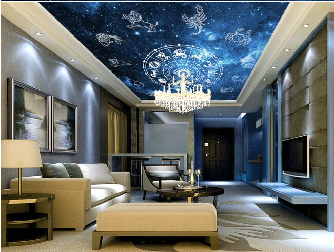 Aliexpress Com Buy Large Custom Mural Wallpapers Living: Custom 3D Large Mural,12 Constellation Zenith Mural Vinyl